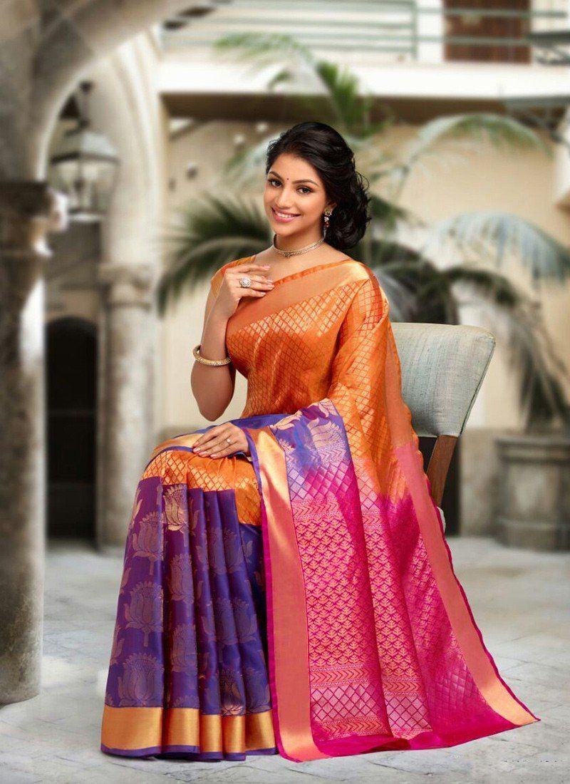 29f27b6012 Orange Pink Purple Kanchipuram Silk Sarees #wedding saree #bridal sareee  #traditional sarees #party wear saree