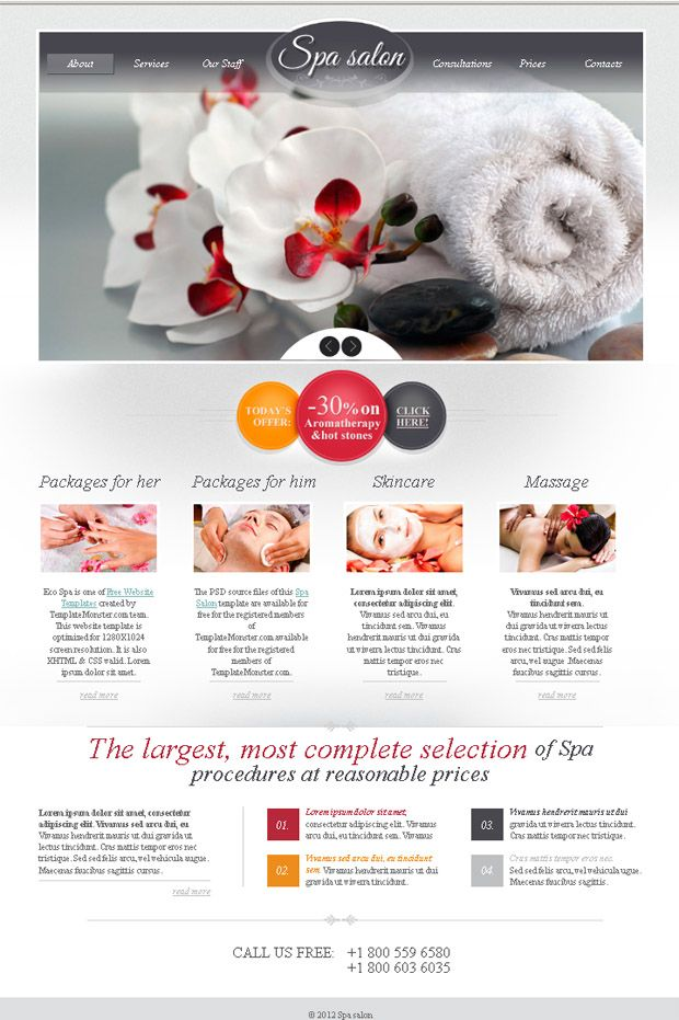 Free Website Template for Spa Salon with jQuery Slider and Zoomer