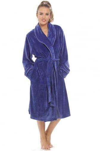 Luxurious Heavy Weight Soft Purple Velour Dressing Gown   BATHROBES ...