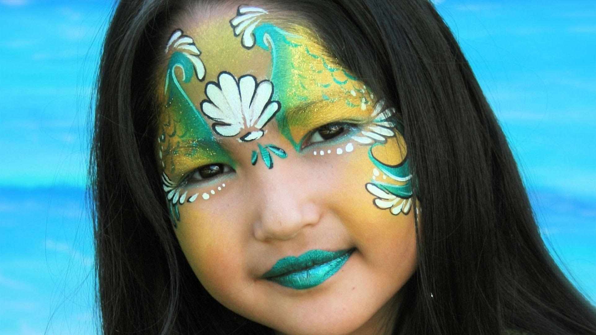 meerjungfrau schminken meerjungfrau kinderschminken vorlage anleitung karneval pinterest. Black Bedroom Furniture Sets. Home Design Ideas