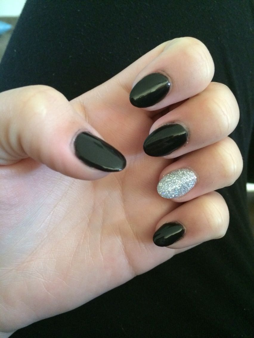 Black And White Acrylic Almond Nails Imgurl