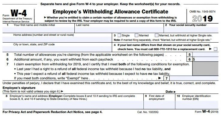 Irs Issues New W 4 For 2019 Tax Year Withholding Tax Forms