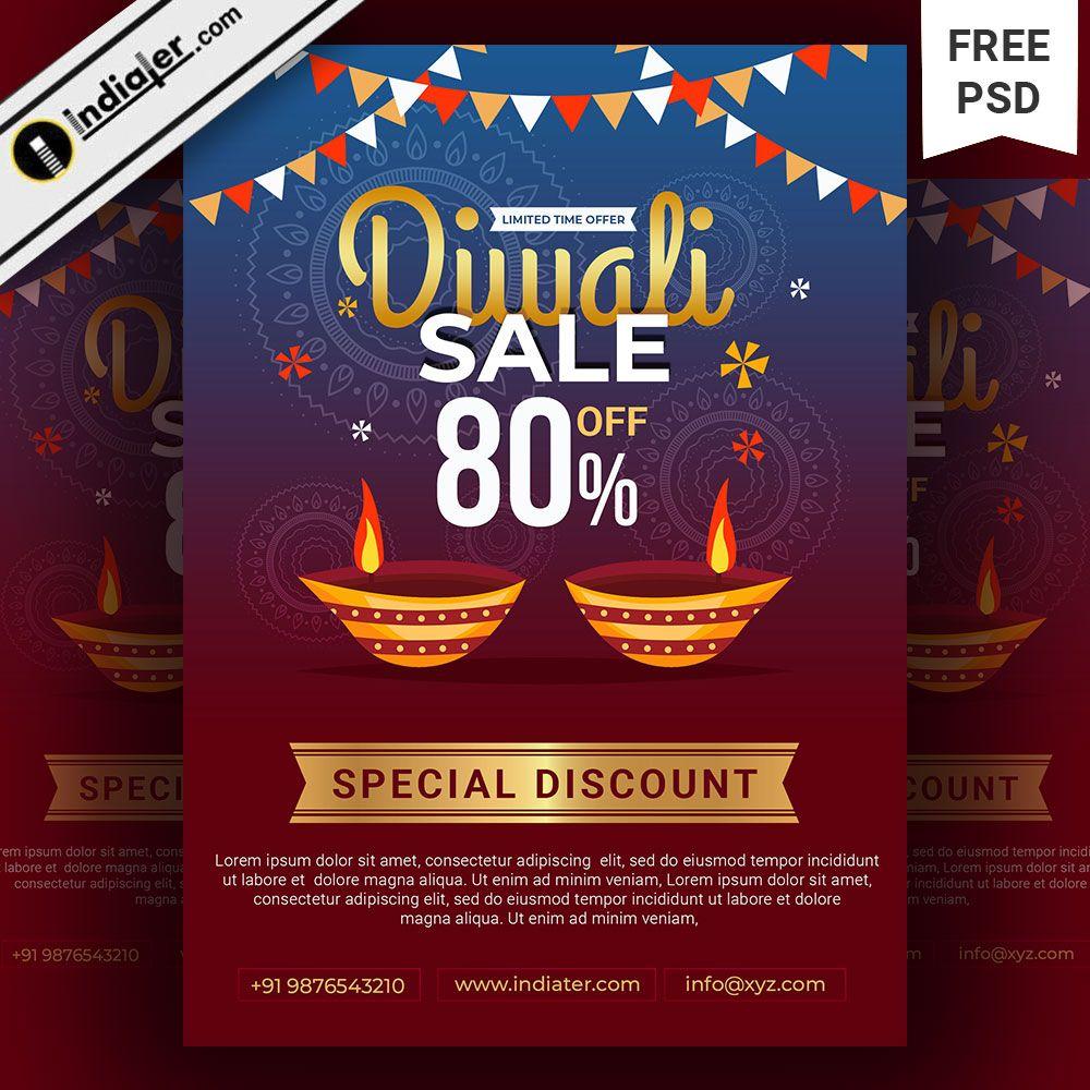 A4 Size Diwali Festival Sale Poster Flyer Template Sale Poster Flyer Template Diwali Festival