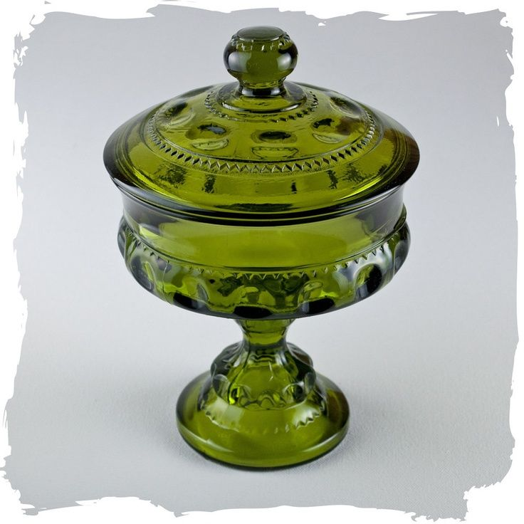 Depression Glass Vintage Candy Dish Green