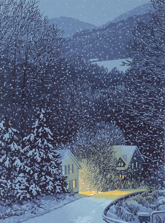William Hays Linocut Linocut Prints Winter Landscape Winter Scenes