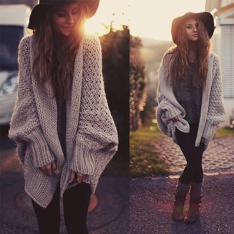 Loose bat sleeve knit cardigan sweater jacket | Fashion trends ...