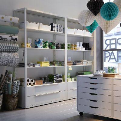 Fjalkinge Shelf Unit With Drawers White 46 1 2x13 3 4x76 White Shelving Unit Ikea Shelving Unit Retail Shelving