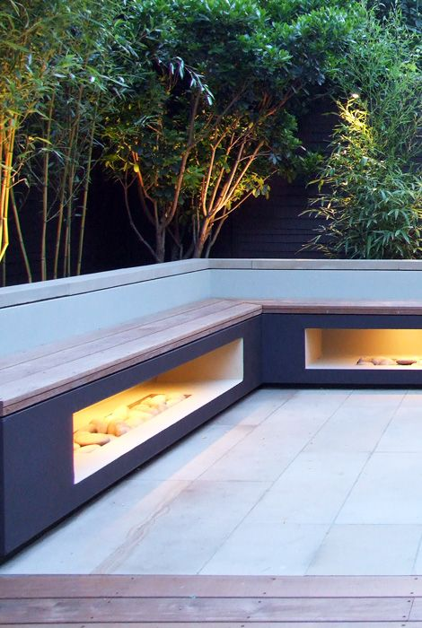 contemporary garden bench lit up Garden design Pinterest