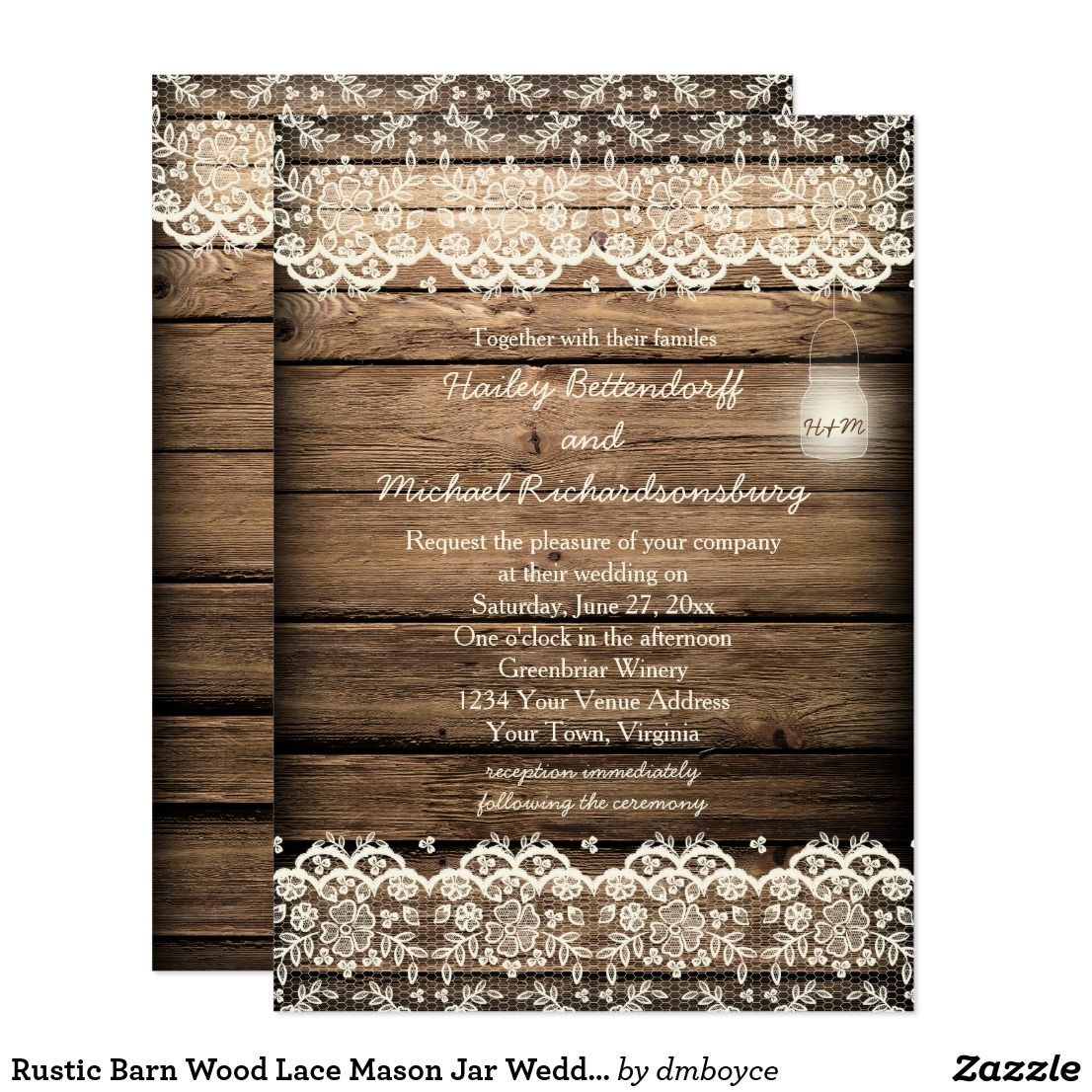 Rustic Barn Wood Lace Mason Jar Wedding Card This Invitation Has A Single