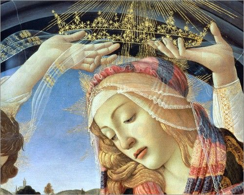 sandro-botticelli-the-madonna-of-the-magnificat-detail-of-the-virgins-face-and-crown