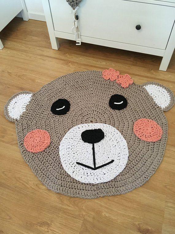 bear rug, Crochet rug, Kids Room Carpet Tappeti