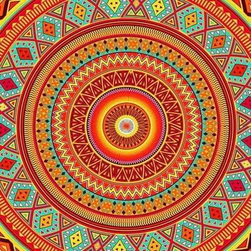 Aztec Pattern Mandala by Maximilian San