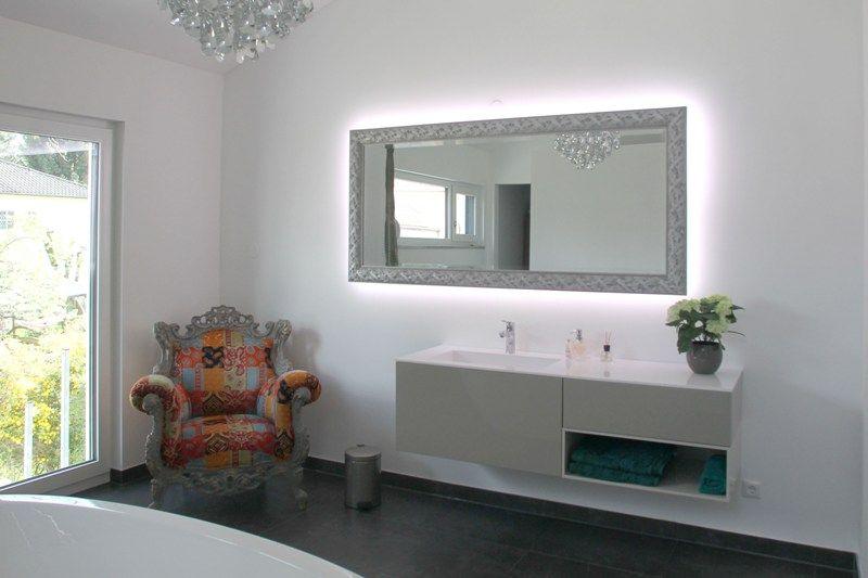Fertighaus   Wohnidee Badezimmer #Haus #Fertighaus #Badezimmer #Spiegel # Waschbecken #modern