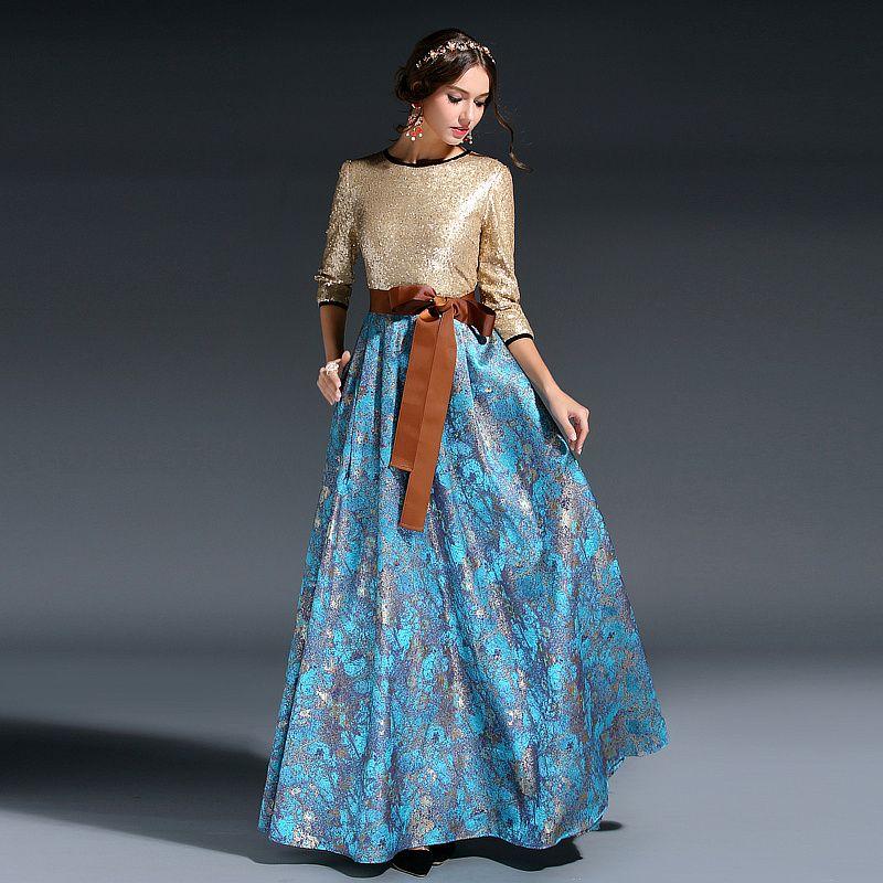 HIGH QUALITY New 2016 Runway Designer Maxi Dress Women's Elegant 3 ...