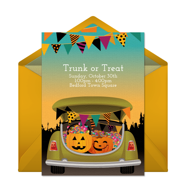 Free Trunk Or Treat Invitations Trunk Or Treat Halloween Invitations Trunk Party