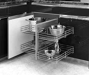 Left Blind Corner Kitchen Cabinet Organizer Chrome Baskets Pullout Unit Organizers
