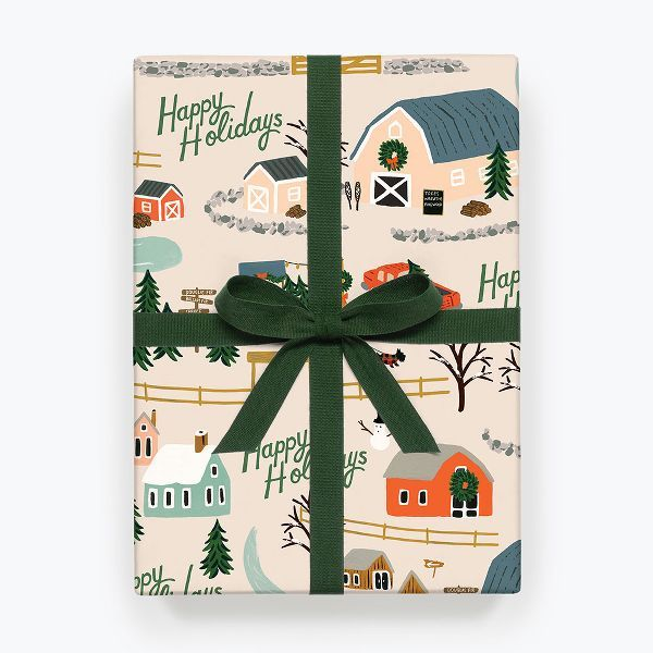 This Rifle Paper Co. flat wrapping paper features a sweet and festive town scenery that makes you feel at home. Perfect for wrapping gifts or being hung as décor.<br><br>Please note: given the delicate nature of flat paper, all flat paper purchases are final sale.