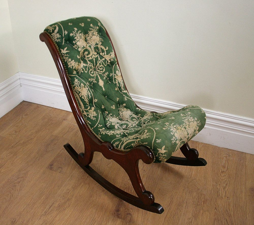 Antique Rocking Chairs, Antique Victorian Mahogany Rocking Chair Here is an  example of a very good quality Victorian mahogany deep buttoned upholstered  ... - Antique Victorian Mahogany Rocking Chair (c.1850) - Antiques Atlas