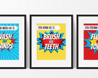 Super Hero Bathroom Prints