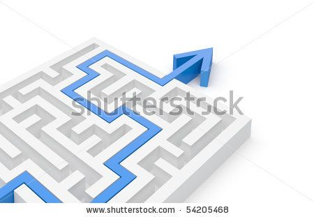 Solve Problems stock photo : Solved maze puzzle - more variations in