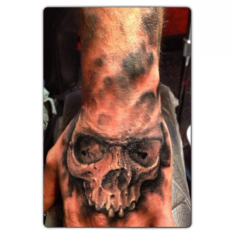 Black and Grey Skull Hand Tattoo Hand tattoos, Hand