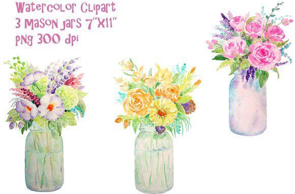 Watercolor Vase Of Flowers Mason Jar By Corner Croft On