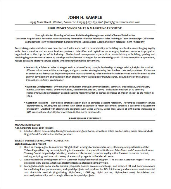 Executive Resume Templates Executive Managing Director Resume Free  Executive Resume