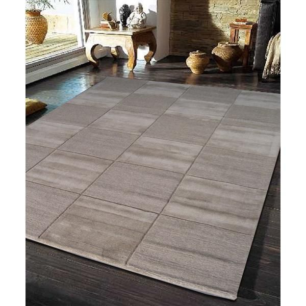 Modern Box Design Wool Rug Brown 280x190cm Designer Rugs Great Gifts At Deals Direct