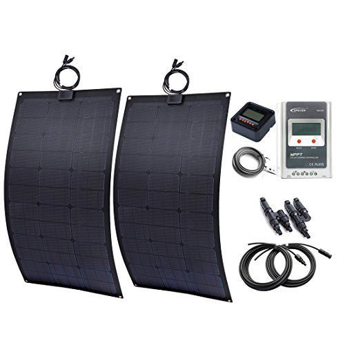 Lensun 2 X 80w 12v Black Flexible Solar Panel Kit With 20a Mppt Solar Controller Mt50 Mc4 Y Connec Flexible Solar Panels Solar Panel Kits Solar Panels For Home