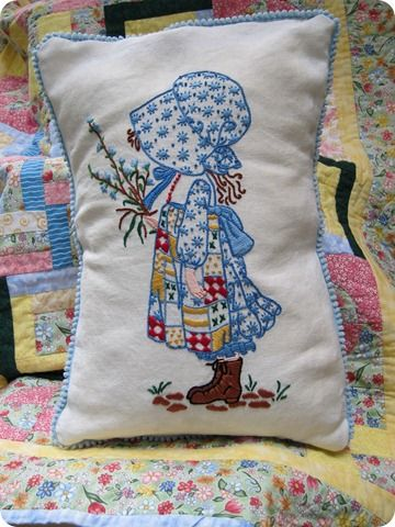 Holly Hobbie pillow from 1973 Simplicity 6005 embroidery pattern I had this in my room when I was little!