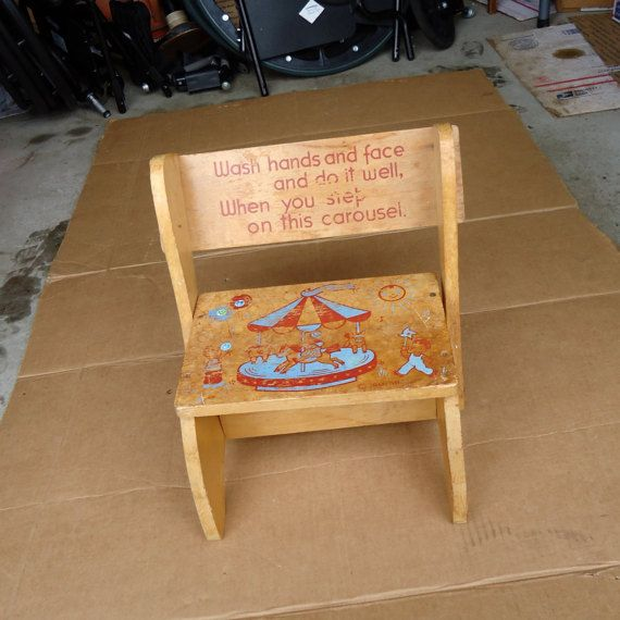 Vintage Step Stool Wooden Chair Combo Kids Childs
