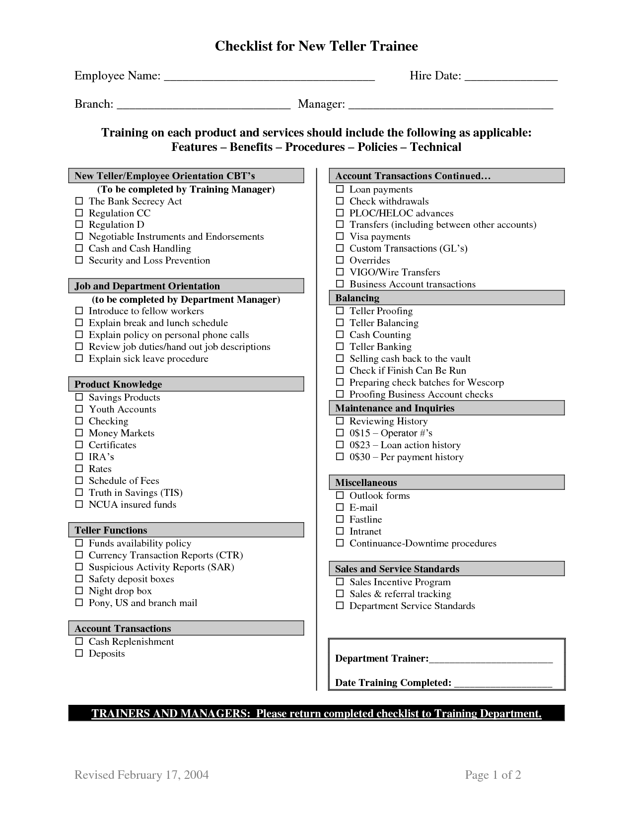 Training check list TRAINING CHECKLIST SAMPLE – Training Checklist Template