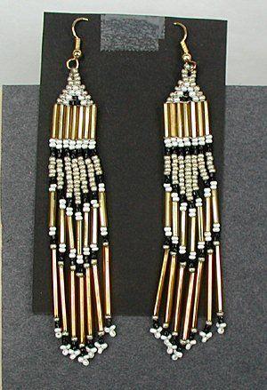 Native American Navajo vintage beaded fringe earrings