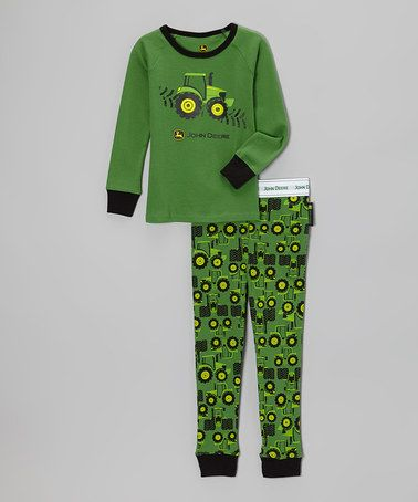 8dc80b2fdf74 Take a look at this Green Tractor Pajama Set - Infant