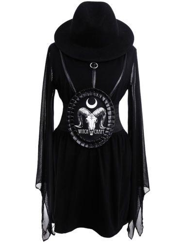 Restyle-Stretchguertel-Witchcraft-Skull-Mieder-Taillen-Guertel-Belt-Gothic-Corsage