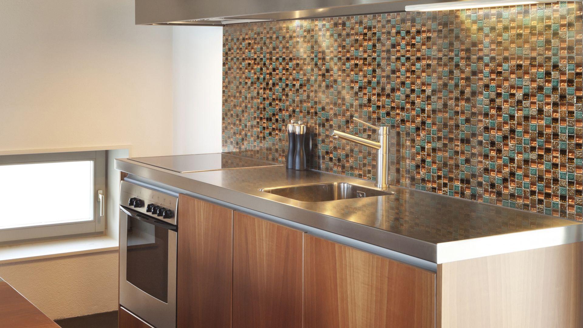 Flare mosaic copper 58x58 sparkle glass mix