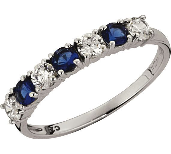 bf60e1fff5d09 Buy Sterling Silver Blue and White Cubic Zirconia Eternity Ring at ...