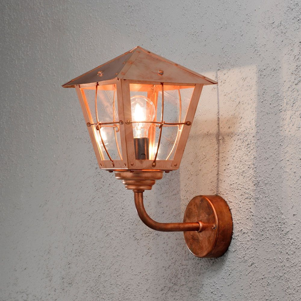 Konstsmide 438 900 Fenix 1 Light Copper Outdoor Wall Light Wall Lights Outdoor Wall Lantern Light Copper