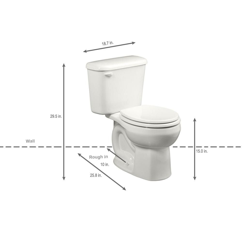 American Standard Colony 10 In Rough In 2 Piece 1 6 Gpf Single Flush Round Toilet In White Seat Not Included 221db004 020 With Images American Standard Toilet Flush