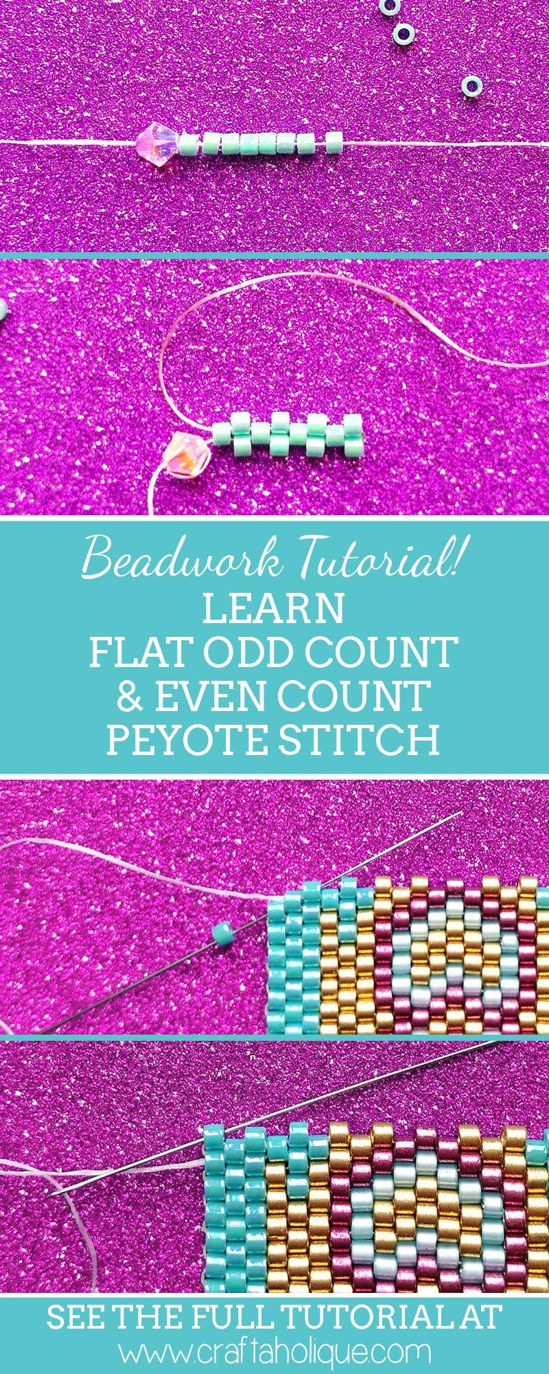 Flat Even Count & Odd Count Peyote Stitch Beadwork Tutorial ...