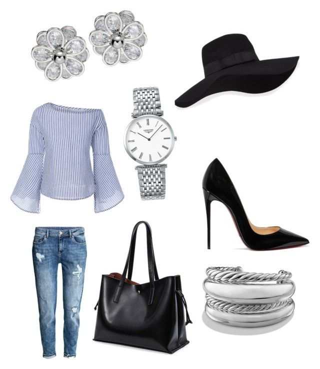 """KreationzbyMiyahMarie"" by princess-zamiyah on Polyvore featuring H&M, Christian Louboutin, San Diego Hat Co., Longines and David Yurman"