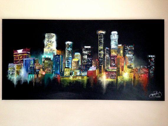 Pin By Jerry Rodriguez On La Arte Skyline Painting Cityscape Painting City Painting
