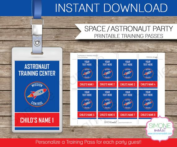 Space Party Astronaut Training Pass Printable Insert Instant Etsy Space Birthday Party Space Party Space Birthday