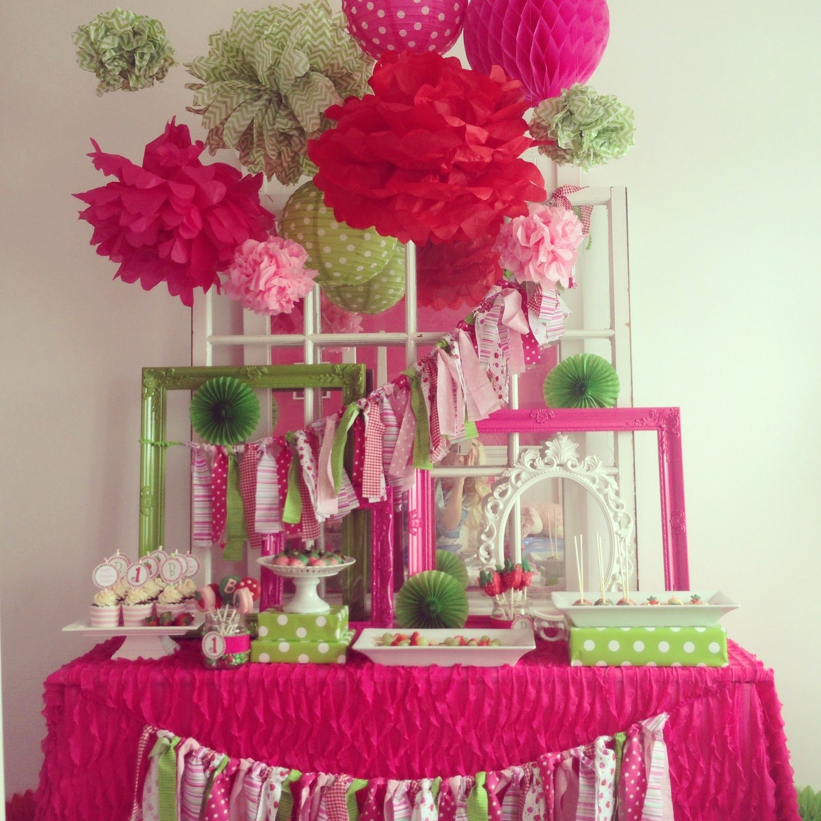 Hot pink and lime green Outstanding combo Dessert Tables