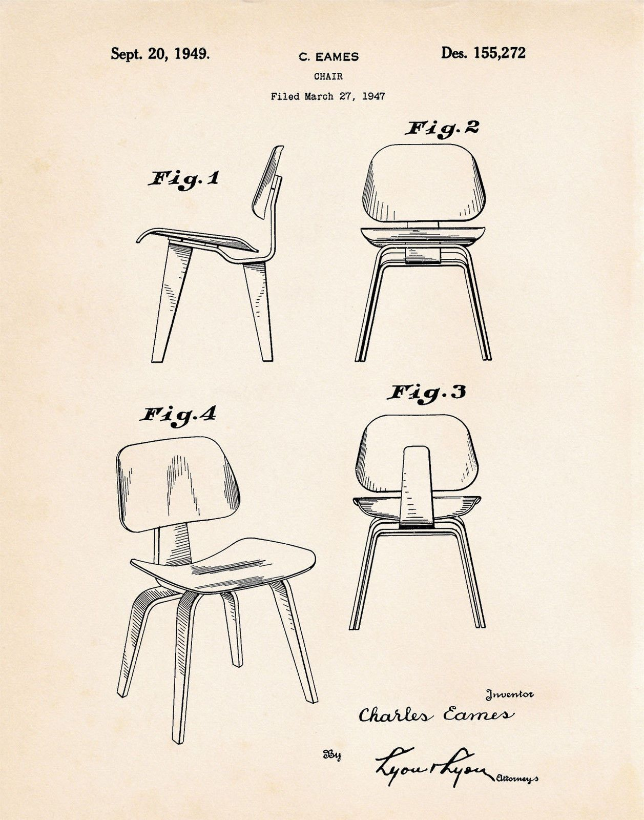Eames Chair Drawing 1947 Eames Modern Chair Patent Retro Mid Century Furniture