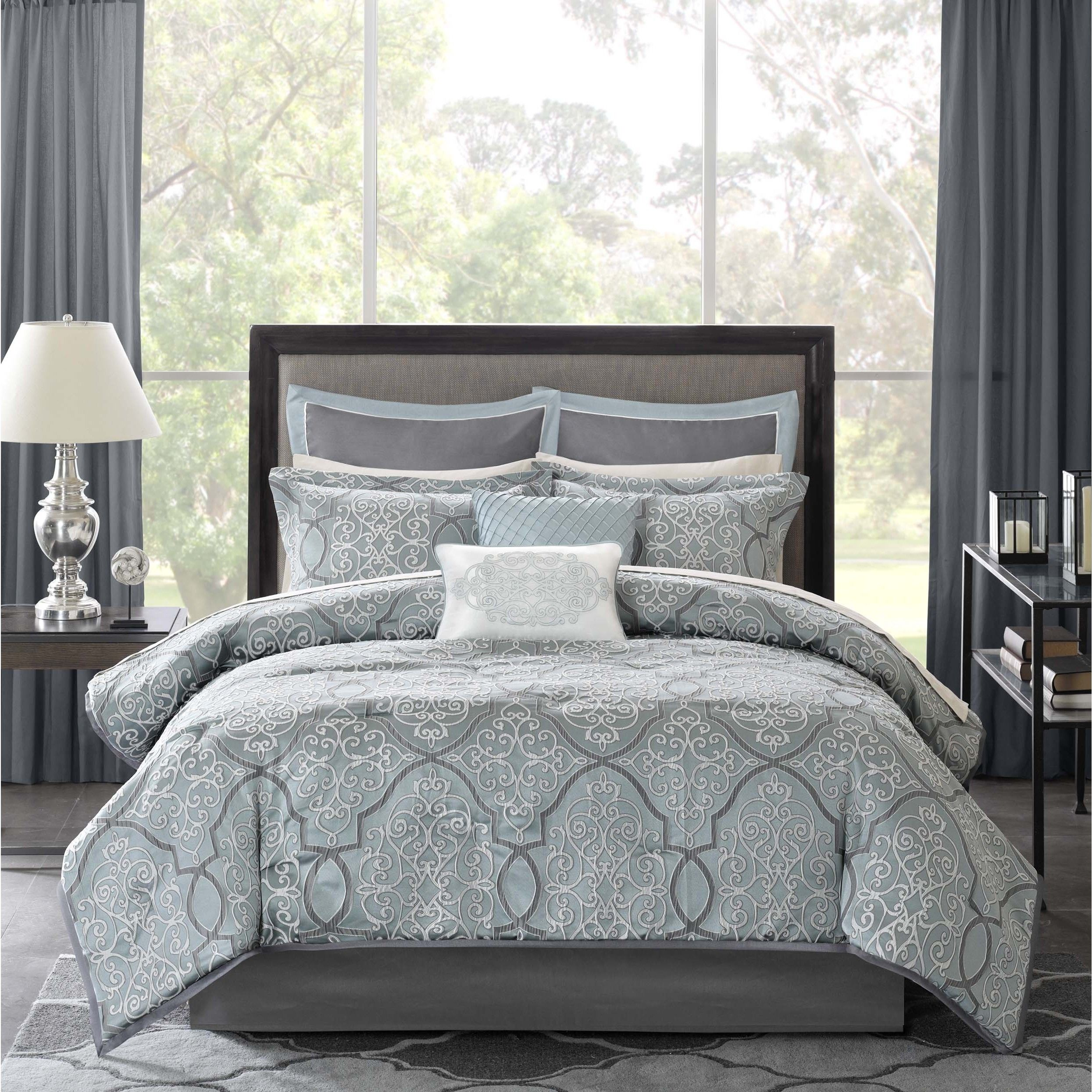 Overstock Bedroom Furniture Sets Madison Park Anouk Jacquard 12 Piece Complete Bed Set By Madison