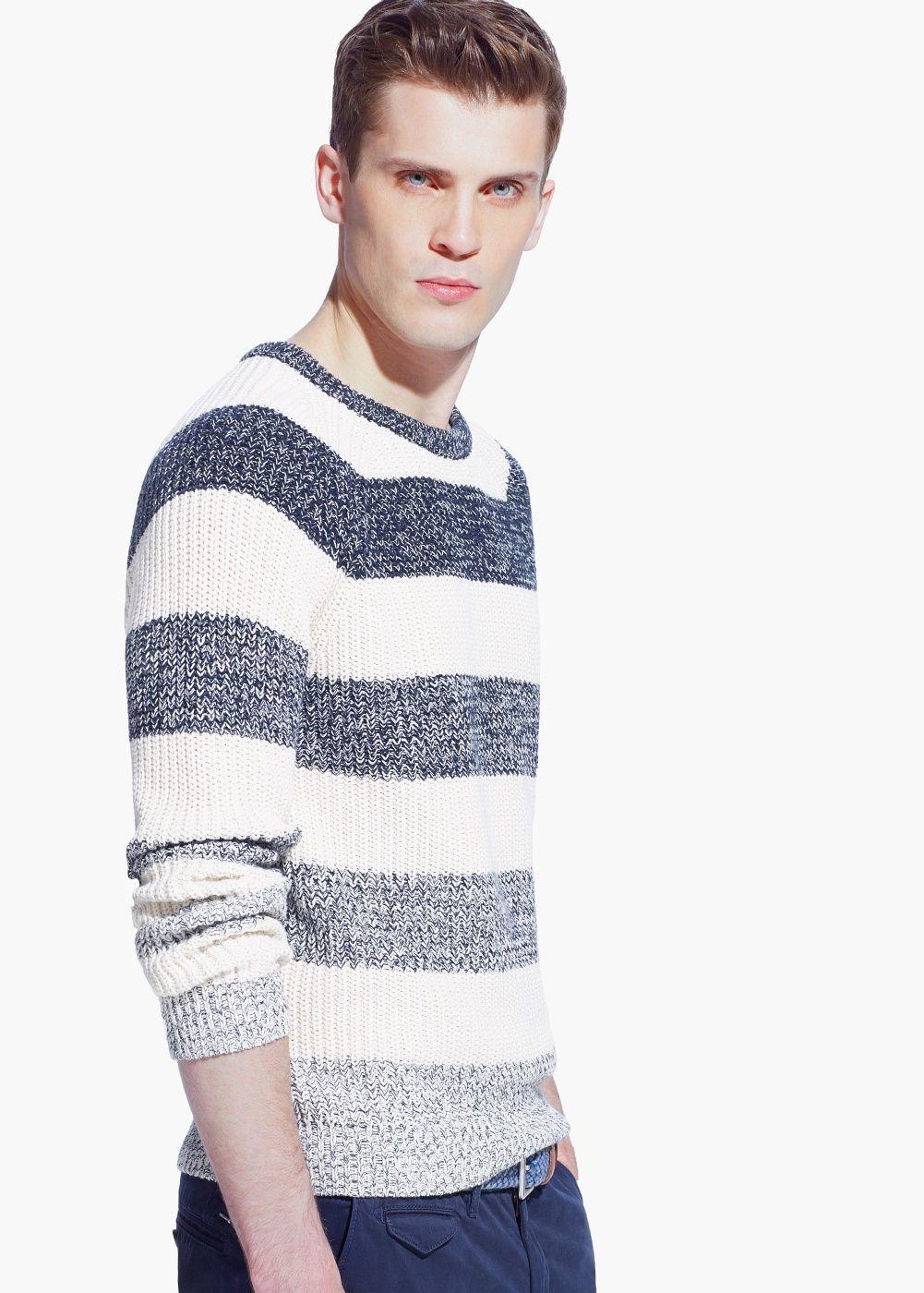 a045cb96300c Mango Man - Striped Cotton Sweater