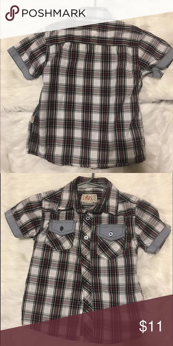 8c71c1c8d Boys' Clothing (Newborn-5T) Tops & T-Shirts NEW Toddler Boys Button Down  Shirt Size 3T Black Gray Plaid Top Garanimals