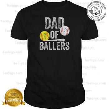 Mens Dad Of Ballers T Shirt Funny Baseball Softball Gift From Son Teebigs Baseball Shirts For Moms Baseball Humor Baseball Dad Shirts