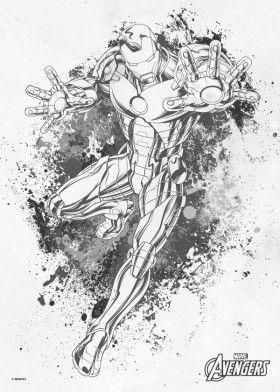 Iron Man Ironman Tony Stark Splatter Sketch Pencil Drawing Avengers Comic Marvel | Marvel/DC ...